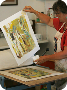Artist Liz Perry working in the Blue Jacket Studio